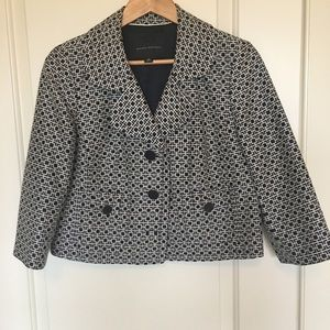 Banana Republic navy & white cropped blazer sz 10